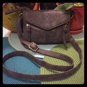Gray Faux Distressed Suede Crossbody